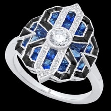 Beverley K Blue sapphire, diamond, and onyx ring
