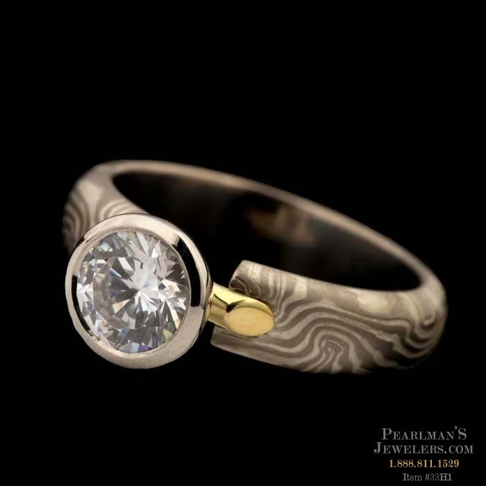 A Beautiful 14kt Grey Gold George Sawyer Engagement Ring W