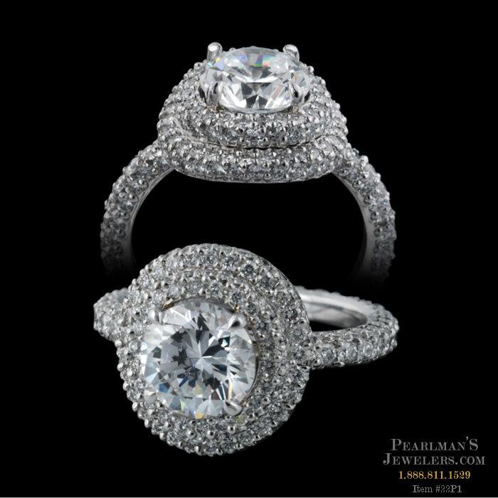 Michael b jewelry halo diamond pave ring for Michael b s jewelry