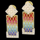 Art nouveau inspired earrings. These earrings are made from 18k gold and feature 44 round diamonds. The total carat weight of the daimonds are 1.12tcw.The faded color enamal looks great changing the color for red to teal to blue to violet. These earrings measure 14mm x 40mm and weigh 20.70 grams.