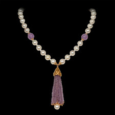 Robert Golden Gold amethyst pearl necklace