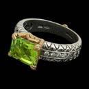 Pretty 18kt gold and sterling silver Peridot and diamond ring from Bixby.  The piece is set with a 9mm x 7mm peridot and 10 diamonds weighing .15ctw.