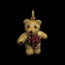 Gorgeous 18kt gold pave diamond and natural gem ruby teddy bear charm. This piece is a very heavy 7/8'' in length piece. Available in 1 1/8th inches. Arms, legs, and head move. Made in the USA  Very fine!