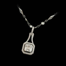 A beautiful and classic handmade platinum diamond necklace by Beaudry.  The piece is set with a center .84ct asscher cut diamond and 1.62ct of round diamond. 16 inches.  Call for price and availability.