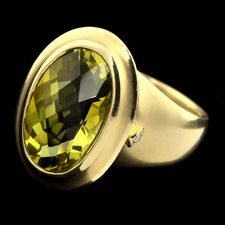 SeidenGang green gold classic collection ring set with a oval cut 12mmx17mm lemon citrine center.