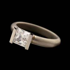 George Sawyer's ice cool platinum straight V channel engagement ring measures 3.6mm in width.  Diamond not included.