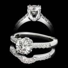 A. Jaffe Ring - A pretty pave engagement ring from signature collection. The ring is 18kt. white gold and is set with .28ct of diamonds and is shown with a 1.0ct diamond which is not included. A best