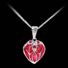 Nicole Barr Red ruby enamel pendant necklace