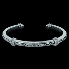 Scott Kay Sterling ladies sterling silver diamond thin cuff basket weave bracelet .15ctw.