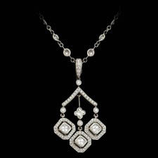 A beautiful platinum handmade necklace by Beaudry.  The piece is set with 1.60ctw of round, asscher, and lily shaped diamonds.  16 inches in length. Call for price and availability.