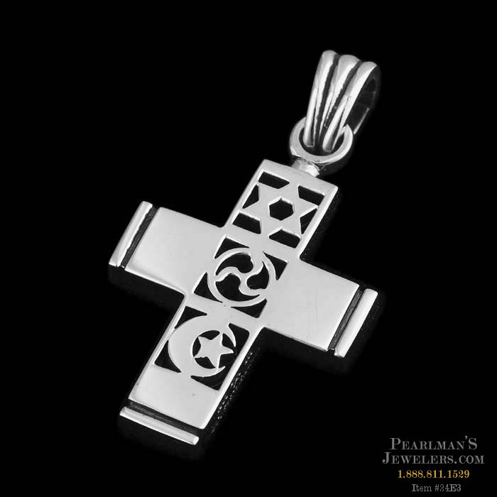Small sterling silver world peace cross pendant from kiese kieselstein cord necklaces discontinued small sterling silver world peace cross pendant aloadofball Image collections