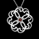 The survival chakra harnesses energy to the physical body, tames fear, and improves health. From the Kismet Collection by Metalsmiths Sterling this beautiful Chakra pendant. The pendant is centered with a round faceted garnet weighing 0.28 carats. The Chakra measures 34.7mm in diameter. The pendant is suspended from a 20 inch rolo chain that also adjusts to 18 inches.