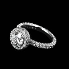 Michael B. three-sided halo engagement ring