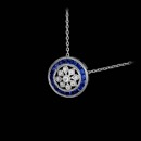 This is from Beverley K, a very delicate design in 18kt white gold features blue sapphires and diamonds. The pendant contains .69ct.total weight of blue sapphires and .05ct. total weight in diamonds.
