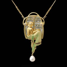 Beautiful 18kt gold and enamel angel pendant from Nouveau Collection, with pearl enhancer.
