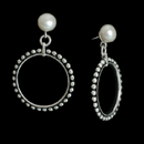 A pretty pair of sterling silver hoop earrings with white pearls, designed by Honora.