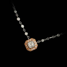 A classic handmade platinum and rose gold diamond necklace by Beaudry.  The necklace is set with .87ctw of white diamonds and .19ctw of fancy pink diamonds.  The necklace is 16 inches in length. Call for price and availability.