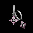 18kt white gold diamond and pink sapphire charm earrings by Beverley K. These earrings contain .14ct. total weight in diamonds and .36ct. total weight in pink sapphires.