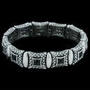 Very elegant ladies Scott Kay Sterling sterling silver and onyx bracelet, with .126ctw diamond pave clasp.