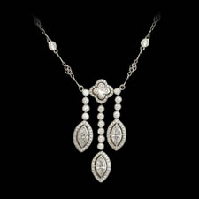 An elegant handmade platinum diamond necklace by Beaudry.  The piece is set with 3.31ctw of round, marquise, and lily shaped diamonds.  16 inches in length. Call for price and availability.