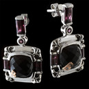 A pair of black onyx and rhodolite sterling silver earrings from Bellarri. The black onyx have a size of 12.60tcw. and the rhodolite have a total carat weight of 4.90. Dimensions: 18mm x 19mm