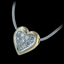 Michael Bondanza's platinum and 18K gold mini pave heart necklace on a platinum snake chain, with .20ctw of round diamonds.