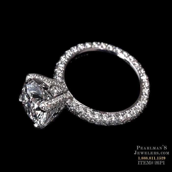 Michael b jewelry three sided princess pave engagement ring for Michael b s jewelry