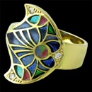 An 18kt yellow gold moon shaped ring from Nouveau Collection with multi-colored enameling and .11ctw in diamonds.