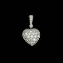 Beautiful 18kt white gold diamond pave heart pendant.  The piece is set with 29 diamonds weighing 1.0ct total. VS G-H quality.