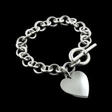 Dorfman Sterling Dorfman silver heart bracelet with toggle