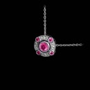 Lovely 18kt white gold pendant by Beverley K., with .19ctw of pink sapphire and .04ctw of diamond, suspended, on a white gold chain.