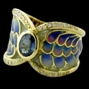 An exquitsite 18kt yellow gold and multi-color enamel ring from Nouveau Collection with one gorgeous center sapphire and 32 diamonds weighing .26ctw.