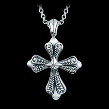 Ladies sterling silver medium basket weave cross pendant from Scott Kay Sterling. Chain sold separately for $195.00 in 16 inch and is also available in 18 inch for $$225.00.