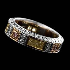 Michael Beaudry fancy pink, yellow, and white diamond band
