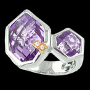 "A unique Amethyst sterling silver ring from Bellarri. The two Amethyst have a combined size of 9.15ctw. The ring features Bellarri's signiture ""B"" with two small diamonds weighing 0.01tcw.Ring's head Dimensions: 17mm x 22mm"