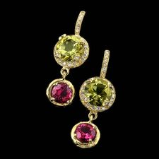 SeidenGang 18kt. green gold drop earrings set with lemon citrine and pink tourmaline.