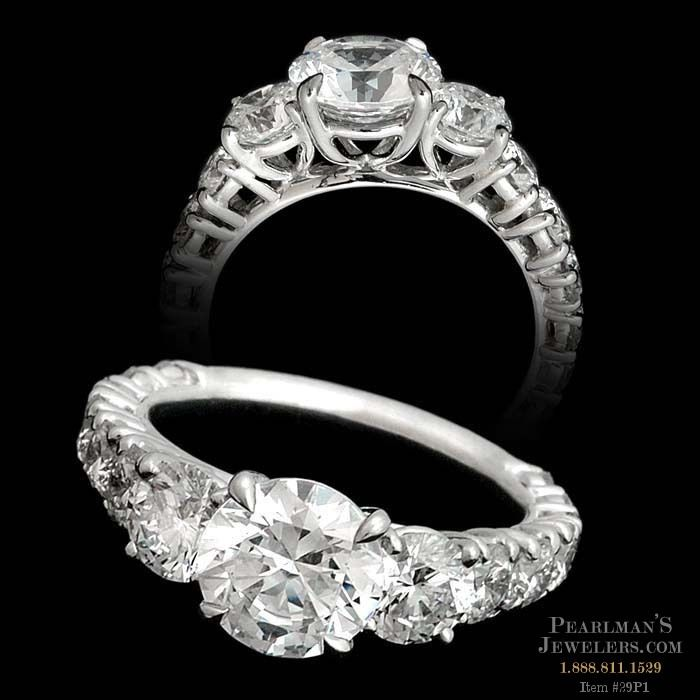 Michael b jewelry platinum riviera 3 stone engagement ring for Michael b s jewelry