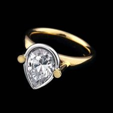 Whitney Boin post 18kt. yellow gold fancy shape mount engagement ring with platinum bezel.
