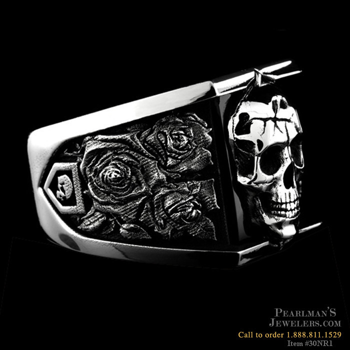 Nightrider Silver Skull Ring With Onyx