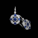 Beverley K's ladies 18kt white gold earrings layered beautifully with diamonds and sapphires. These earrings contain .16ct. total weight in diamonds and .93ct. total weight in sapphires. These earrings measure 19mm in length and 11mm across.
