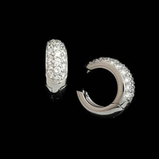 Classic 18kt white gold diamond pave huggies set with .83ct of diamonds. VS G-H
