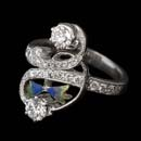This beautiful figure eight ''Guardina del Lago'' 18k white gold ring by Nouveau Collection is enhanced with blue and green enamel and shines with 1.46ctw in diamonds.
