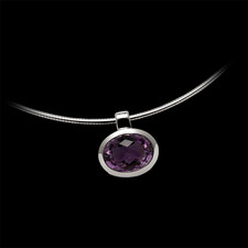 Bastian Inverun Sterling silver amethyst pendnat with omega chain