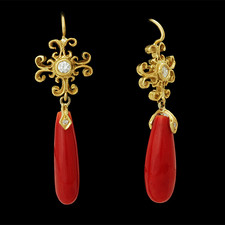 Cathy Carmendy Cathy Carmendy 20kt y.g. Coral & Diamond earrings
