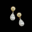 Beautiful pair of 18kt gold and platinum diamond earrings. This pair is set with .53ct of fancy yellow diamond and 1.23ct of pear shaped diamonds. VS-G-H