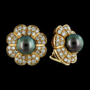 Beautiful Tahitian Black Pearl and diamond earrings set in 18K yellow gold by Gumuchian. Pearls are approx 9mm and total diamonds are approx 3.0ctw. Earrings measure 18mm in diameter. These are a beautiful match to ring item #103J1