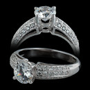 Diamond engagement ring from Spark with 3 rows of diamonds on the sides of the center stone. This ring is 18kt gold and has 0.28 ct in round diamonds. CENTER STONE NOT INCLUDED