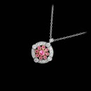 From Beverley K, this is a gorgeous 18k white and rose gold diamond and sapphire pendant. This pendant contains .17ct. total weight in diamonds and .29ct. total weight in pink sapphires.