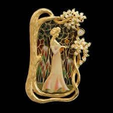 What a wonderful portrait of a woman in a garden by Nouveau Collection.  This piece is 18kt yellow gold with