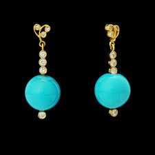 Cathy Carmendy Cathy Carmendy 20kt y.g. Turquoise & diamond earrings